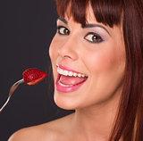 Bright Beautiful Auburn Haired Redhead Woman Food Fruit Strawber