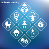 Vector flat baby on board sign setPrint