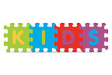 "Vector ""KIDS"" written with alphabet puzzle"