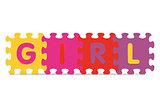 "Vector ""GIRL"" written with alphabet puzzle"