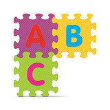 "Vector ""ABC"" written with alphabet puzzle"
