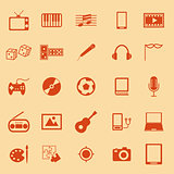 Entertainment color icons on orange background