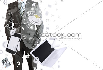 Man in suit and office objects