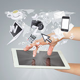 Hands holding tablet pc. Concept electronics