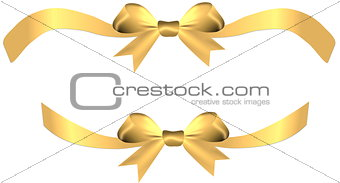Satin golden bow with ribbons on the gift or heart isolated