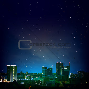 abstract night background with city and stars