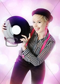girl with vinyl