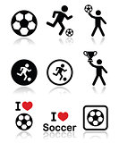 I love football or soccer, man kicking ball vector icons set