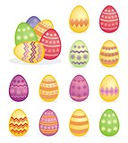 Colorful easter eggs vector set isolated on white background