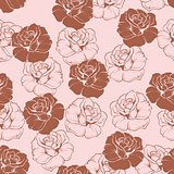 Seamless vector floral pattern with pink and dark, chocolate brown roses on pink background.