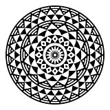 Tribal aztec geometric pattern or print in circle - folk