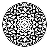Tribal aztec geometric pattern or print in circle - folk