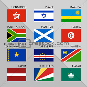 Flags of world, flat. Set number 10
