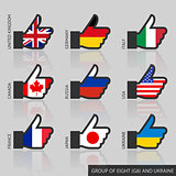 Set of G8 flags, like