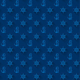 Seamless patterns, blue anchors, with shadow