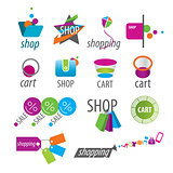 collection of vector logos shopping and card
