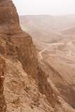Masada mountain in the haze