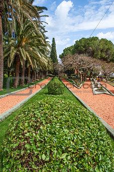 fragment of famous Bahai gardens in Haifa, Israel