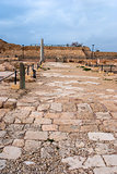Ruins of the ancient Romanian harbor, Caesarea, Israel .