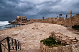 Ruins of harbor at Caesarea - ancient roman port in Israel