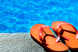 sandals by a pool