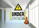 Composite image of under construction doodle