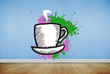 Composite image of cup and saucer on paint splashes