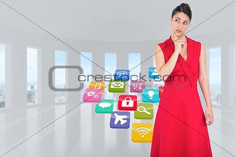 Composite image of thoughtful elegant brunette in red dress posing