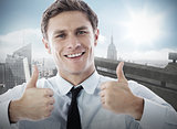 Composite image of businessman showing thumbs up