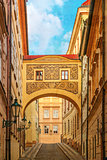 Street of Prague, Czech Republic, old color image style.