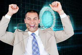 Composite image of successful businessman punching the air