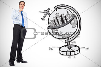 Composite image of thinking businessman touching chin
