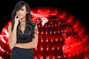 Composite image of pensive elegant dark haired model posing with finger on her cheek
