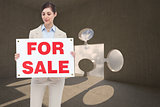 Composite image of estate agent holding for sale sign