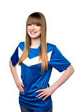 Girl in football shirt