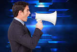 Composite image of profile of a businessman shouting through a megaphone