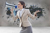 Composite image of furious stylish brown haired businesswoman shouting in a megaphone