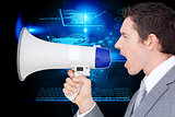 Composite image of businessman using a megaphone