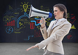 Composite image of irritated stylish brown haired businesswoman screaming in a megaphone