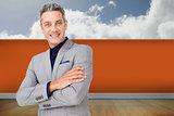 Composite image of smiling confident businessman