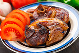 Pan fried pork with tomatoes