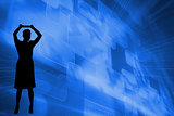 Composite image of futuristic blue squares
