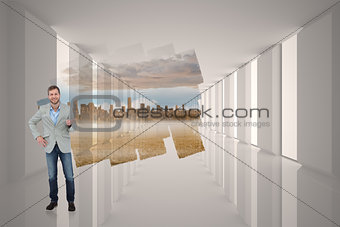 Composite image of stylish man smiling and gesturing