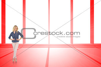 Composite image of thoughtful gorgeous blonde wearing classy clothes posing