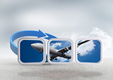 Composite image of airplane on abstract screen
