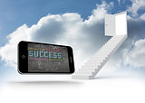 Composite image of success plan on smartphone screen