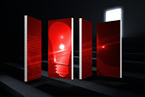 Composite image of red light bulb graphic on abstract screen