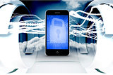 Composite image of blue lock on smartphone screen