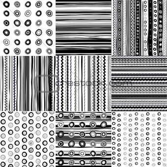 Set of black and white doodle patterns