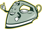 Electric Iron Mascot Thumbs Up Cartoon
